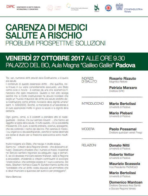 Convegno Carenza di Medici - Mario Bertolissi - Studio Legale